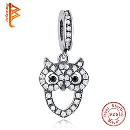 Wholesale Owl Diy - BELAWANG For Women Animal Charm Beads 925 Sterling Silver Cubic Zirconia Owl Shape Pendant fit Pandora Bracelets&Necklace DIY Jewelry Making