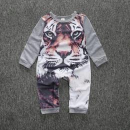 Tigre de algodão 3d on-line-Kamimi 3D Impressão Estilo Tigre Algodão Romper para o Bebê Recém-nascido Meninos meninas Animal roupas infantil macacão