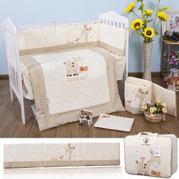 Wholesale Story Pillow - 100% cotton Embroidery pony with bird Yarra Farm Story baby bedding set quilt pillow bumper bed sheet 5 item crib bedding set