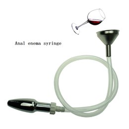 Wholesale Anal Fill Toy - Adult Products Sex Toys Unisex Anal Enema Syringe Enema Cleaning Irrigator Stainless Steel Funnel Filling Device +Anal Plug