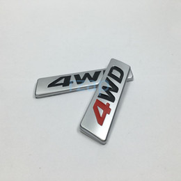 Wholesale 4wd Stickers - 100Pcs For Hyundai Santa fe Tucson 4WD Car Rear Trunk Lid Badge Nameplate Decoration Metal Decals