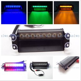 Wholesale Green Flashing Light Led Car - Blue Red 8 LED Car Emergency Warning Dashboard Dash Visor Police Strobe Lights Lamp 8LED White Amber Yellow Green Flash