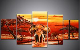 Wholesale Oil Paintings African Elephants - European style decorates a style African elephants scenery Jane the adornment picture 5 Pieces set hand-painted oil paintings