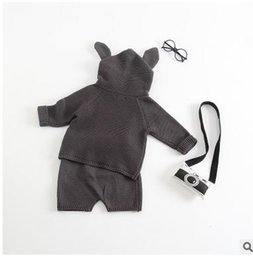 Wholesale Short Sleeve Hoodie Kids - Baby outfits boys girls cute Bunny ears long sleeve Hoodies tops+shorts 2pcs sets Infants cotton outfits Autumn Winter kids clothes G0490