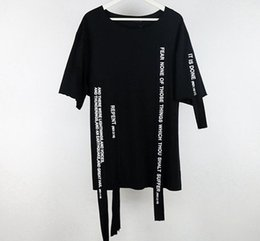 Wholesale Cut Sleeves Shirt - 1Vlone new original design street letter ribbon stitching dark black cut short sleeve T shirt Europe and the United States loose tide co
