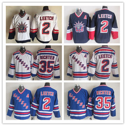 Wholesale Nhl Hockey Rangers - NY 2 Brian Leetch Jersey Throwback NHL New York Rangers 75th Vintage 35 Mike Richter Hockey Jerseys CCM Team White Blue Mix Order