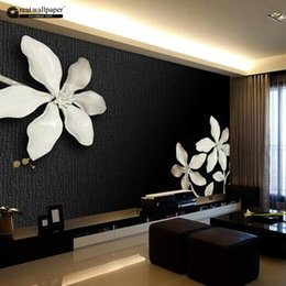 Wholesale Photo Print Paper Sizes - Wholesale-Custom any size 3D wall mural wallpapers for living room,Relief 3D black and white magnolia flower photo murals