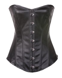 Wholesale Leather Waist Training Corsets - Sexy Synthetic PU faux Leather Corset Bustier Lingerie Lace Up Back 813 Shaper Waist Training Basques Costumes In Stock Small To 6XL