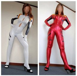 Wholesale Wholesale Zentai Suits - Evangelion Cosplay Plugsuit Ayanami Rei full body suit For Girl Size