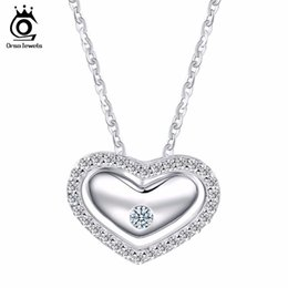 Wholesale Pave Heart Pendants - 925 Sterling Silver Romantic Love Heart Pendant Necklaces Micro Paved Luxury Crystal for Women Wedding SN31
