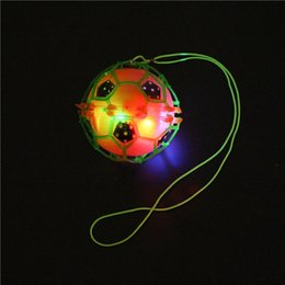 Wholesale Led Flashing Bounce Balls - Flash LED Dance Football Ball Baby Toys LED Light Flashing Bounce Ball children creative dancing bouncing ball with rope Kids Gift free ship