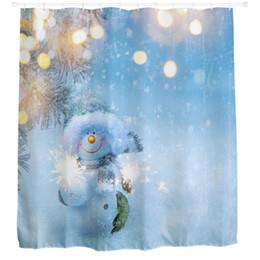 Wholesale Curtains Kid - Wholesale- Fashion Christmas Kids Waterproof Polyester Bathroom Shower Curtain Decor With Hooks bathroom products Bathroom Curtains