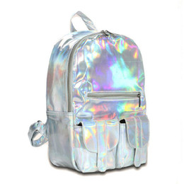 Wholesale Holographic Bags - Wholesale- 2017 Hot selling Fashion Hologram Backpack For School Student Women's Laser Silver Color Holographic Bag DF111