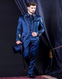Wholesale Tuxedo Suits Men Printed Vest - Wholesale- Custom Made 2017 bule Mens Suits Vintage Print Wedding Suits For Men Groom Tuxedos Three Piece Suit (jacket+pants+vest)