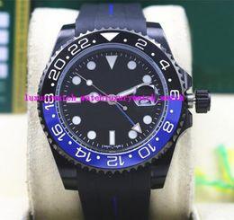 Wholesale Batman Tops - Top Quality Luxury II 116710B 40mm Ceramic Bezel BATMAN PVD Coating Black Blue Rubber Bracelet Mechanical Men Watches New Arrival