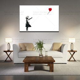 Wholesale High Quality Wall Paintings - Large Abstract Wall Art High Quality Banksy Girl With Balloon Canvas Print Urban Graffiti Art Wall Decor Canvas Art Paintings