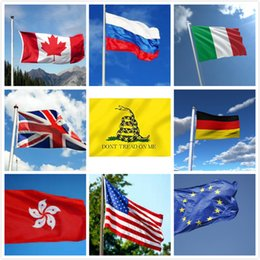 Wholesale Kong Wholesale - 90*150cm National Flag American Canada Germany Russia Italy Hong Kong Flag Banner DONT TREAD ON ME Flag Indoor Outdoor Flags By DHL Shipping