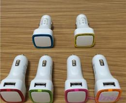 Wholesale Wholesale Halo Charger - 200pcs lot* Enough 2.1A blue Halo LED light 2 side Double Dual USB Car Charger adapter Universal coche de Cargador
