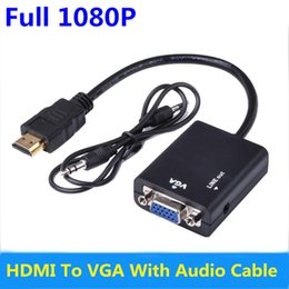 Wholesale Notebook Computer Dvd - Male to Female HDMI to VGA Converter Adapter with Audio Cable Support 1080P HDTV Displayer for PC Computer Notebook DVD