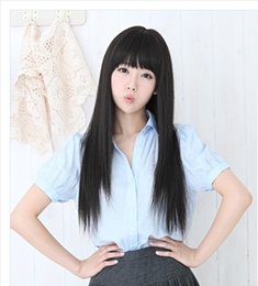 Wholesale Long Straight Black Cosplay Wig - Hot Fashion Style Women Long Straight Hair Black Bang High Heat Resistant Full Wigs 26 inch Cosplay Party Wig Free Shipping