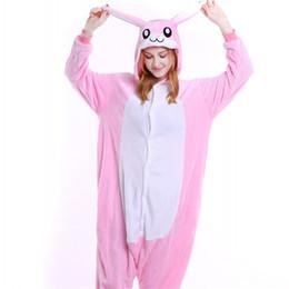 Wholesale carnival rabbit costumes - Women Pajama Sets Blue Pink Rabbit Onesies Animal Cartoon Cosplay Theme Costume Unisex Onesie for Men Sleepwear MX-004