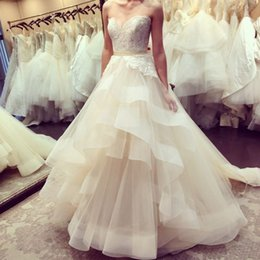 Wholesale Lace Bodice Ruffle Wedding - 2016 Luxury A Line Beaded Sweetheart Lace 3D-Appliques Tulle Ruffle Skirt Chapel Train Vestidos Garden Wedding Dresses Dhyz 01
