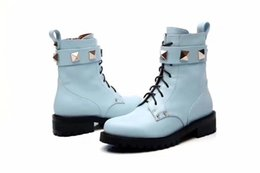 Wholesale Womens Blue Cowboy Boots - Luxury Brand Ankle Martin Boots For Womens Soul Rockstud Cow Leather Rivet Booties Ladies Casual Shoes Blue Black Free Shipping SZ35-39