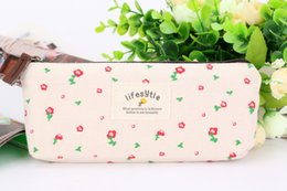 Wholesale Rural Wind Flowers - Rural floral pen bag Small pure and fresh rural wind flower canvas students pen pencil case pencil bags