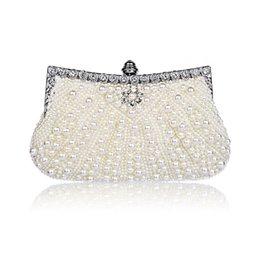 Wholesale Designer Evening Bag Clutch Ring - Luxury Brand Designer Bag Pearls Embroidery Clutch Bags Women Finger Ring Evening Bags Wedding Bridal Handbags Purse Bags