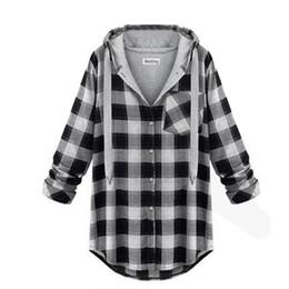 Wholesale Plaid Hoodie Women - Wholesale- 7993 Stylish Women's Girl Hoodie Plaid Jacket Coat Sweatshirt Outerwear Jumper Pullover