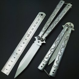 Wholesale Gear For Camping - Butterfly knife 8.8 inch dragon Balisong Trainning Practice Knife 440C hunting knife outdoor gear for hiking camping butterfly knives EDC