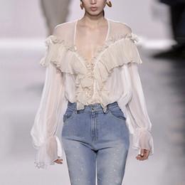 Wholesale Chiffon Korean Women Fashion - Summer Sexy V-neck Female T shirt For Women Tops 2017 Chiffon Ruffles Slim Women's T shirts Clothes Fashion Korean