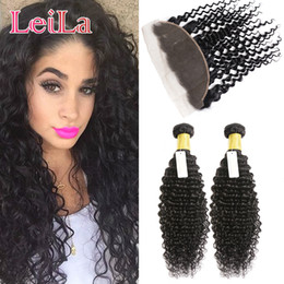 Wholesale L Virgin - Indian 3pieces lot Bundles With 13 X 4 L ace Frontal Beauty Human Hair Products Virgin Hair Deep Wave Curly