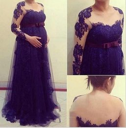 Wholesale Custom Lighted Clothing - Elegant Maternity Clothes 2017 Sheer Long Sleeves Lace Appliques Plus Size Pregnant Women Formal Dresses Prom Evening Gowns