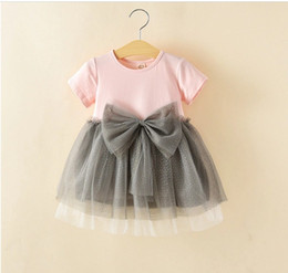 Wholesale Wholesale Tulle For Tutus - Tutu dresses for girls 2017 summer new big bowknot toddler baby princess dresses short sleeve round collar children one-piece dress ab1942