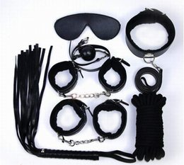 Wholesale Hand Sex Game - Sex Bondage 7 Pcs in one set Sexy Product Set Adult Games Toys Set Hand Cuffs Footcuff Whip Rope Blindfold Couples Erotic Toys