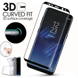 Wholesale Phone Clear Full Case - ShockProof Silicone Soft Clear TPU Case Phone Cover + 3D Full Curved Tempered Glass Screen Protector For Samsung Galaxy S8   S8 Plus