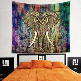 Wholesale Tapestry Religious - Mandala Tapestry Beach Towel Colored Printed Indian Elephant Tapestry Wall Hanging Religious Boho Wall Carpet Living Room Decoration Blanket
