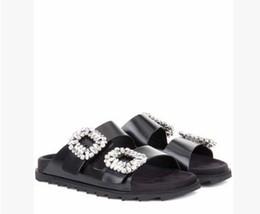 Wholesale Flat Sandals Bling - Luxury Brand Women Bling Rhinestone Sandals Brand New Arrival Flat Heel Peep Toe Summer Slippers Hot Shoes 2017