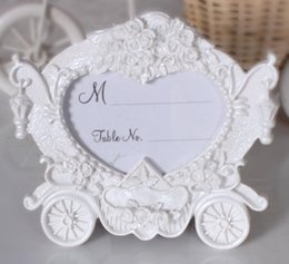 Wholesale Resin Photo Frame Picture - Wedding Favors Creative Gifts Resin White Pumpkin Carriage Photo Frame Place Card Picture Holder Table Decoration ZA3049