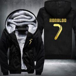 Wholesale Top Designed Hoodies Jackets - USA size New Arrival Men Hoodies CR7 Cristiano Ronaldo Man's Design Male Jacket Thicken Fleece Zip up Tops Plus size