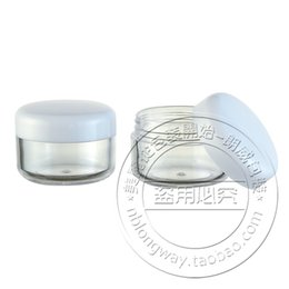 Wholesale Plastic Canisters - Wholesale- 50PCS LOT,15G Cream Jar,White Cap,Clear Plastic Makeup Sub-bottling,Empty Cosmetic Container,Samll Sample Mask Canister