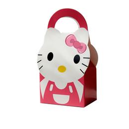 Argentina Al por mayor- Caja de regalo de papel Caja de dulces Tema de Hello Kitty Para Niños Niñas Feliz cumpleaños Decoración de la fiesta de bienvenida al bebé Suministros 12pcs / lot supplier happy kitty Suministro