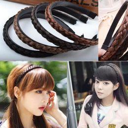 Wholesale Wig Pony Tail Holders - New Women Vintage Wig Headband Braids Hair Band Girls Korea Style Headband Lady Hair Accessories