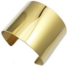Bracelet manchette simple en Ligne-Bijoux fantaisie Big Cuff Bracelet Bracelet pour femmes Classique Simple Or 24k Couleur Plain Large Large Bracelets Brazalete Pulseiras