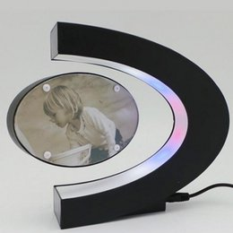 Wholesale Plastic Picture Photo Frames - C Shape Electronic Magnetic Levitation Floating Photo Frame with LED Lights Novelty Gift Home Decoration Pictures Frames Toy