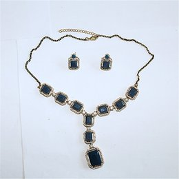 Wholesale Old Diamond Earrings - And the wind old gold with diamond Diamond Earrings Pendant Necklace Chain Black Resin plated jewelry set wholesale price