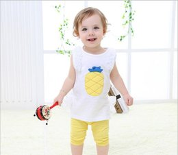 Wholesale Pineapple Clothes - Korean new styles Hot selling girl Summer 2 pieces cute set Cartoon pineapple embroidered mesh vest + short clothing free shipping