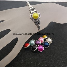 Wholesale Colored Resin Bracelets Wholesale - 2017 fashion ginger snap button Pretty colored pearl of the metal button for 18 mm   20 mm diy bracelet in advance