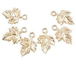 Wholesale Wholesale Craft Supplies Charms - Wholesale-MJARTORIA Charms Pendants 20PCs Gold Plated Maple Leaf Pendants Accessories For Jewelry Making Supplies DIY Craft 17x11mm